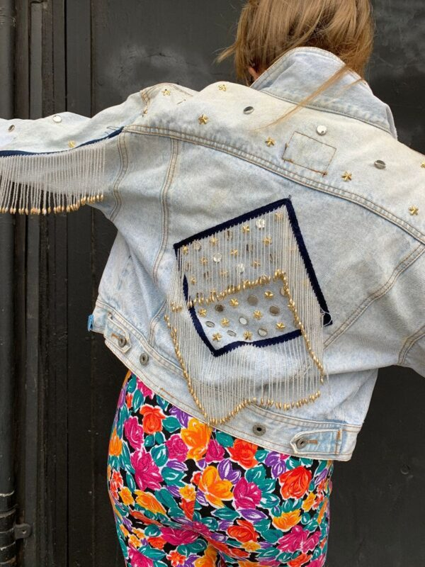 product details: AMAZING 1980S CROPPED & FINGLE BEADED DENIM JACKET AS-IS photo