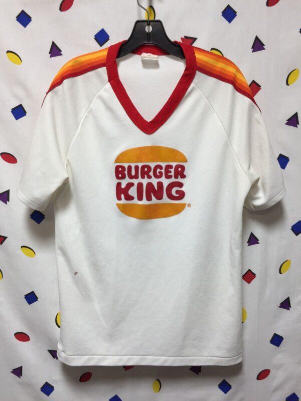 product details: SUPER RAD BURGER KING RINGER STRIPED SLEEVE V-NECK JERSEY AS-IS photo