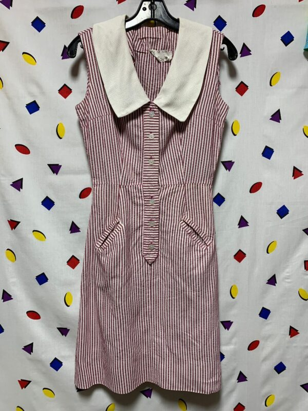 product details: STRIPED COLLARED DRESS WITH POCKETS photo