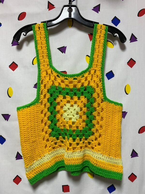 product details: 1970S RETRO KNITTED CROCHET TANK TOP BLOUSE photo
