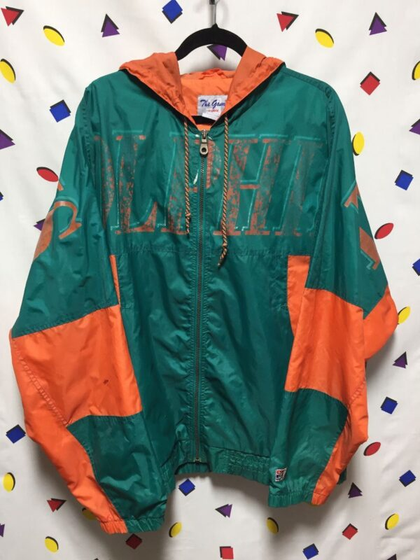 product details: 1990S LARGE SPELL-OUT MIAMI DOLPHINS HOODED WINDBREAKER RAIN JACKET photo