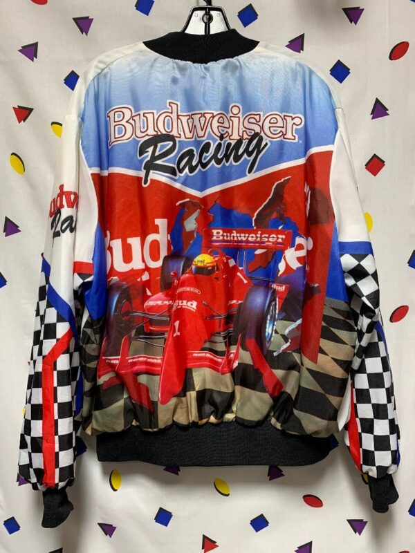 product details: BUDWEISER RACING CHALKLINE FANIMATION BUTTON UP JACKET AS- IS photo