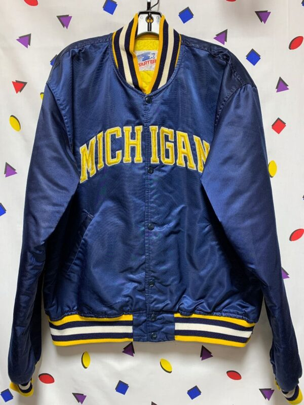 product details: NCAA MICHIGAN WOLVERINES SATIN BUTTON UP STARTER JACKET AS-IS photo