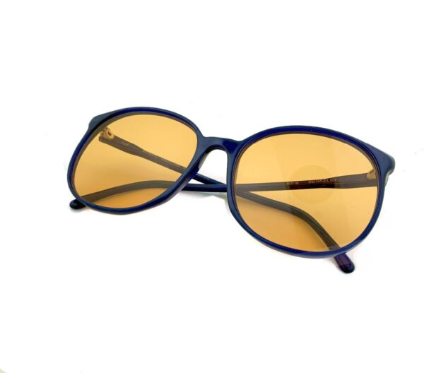 product details: RAD DARK BLUE 1980S SUNGLASSES WITH CUSTOM DIP DYED SHEER ORANGE LENSES photo