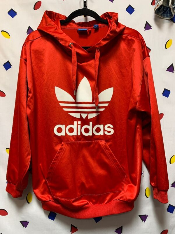 product details: ADIDAS SATIN HOODED PULLOVER SWEATSHIRT SCREEN PRINTED LOGO AS-IS photo