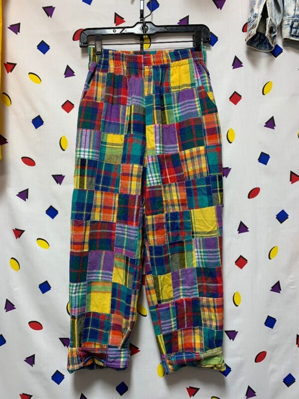 product details: ADORABLE MADRAS PLAID PATCHWORK PANTS STRETCHY WAIST HIGH WAISTED photo