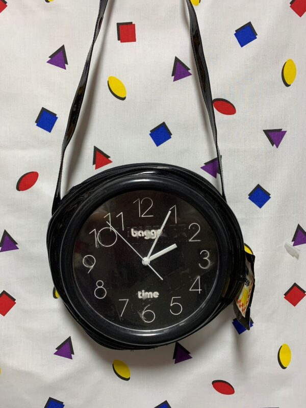 product details: DEADSTOCK 1980S CLOCK PURSE CROSSBODY STRAP VINYL NWT NOS photo
