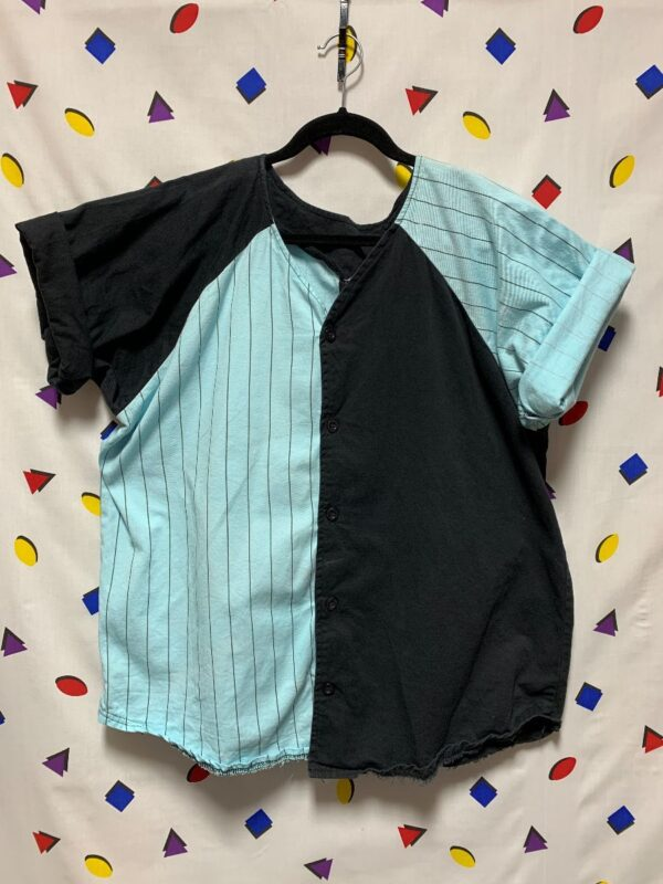 product details: 1990S 100% COTTON COLORBLOCK PINSTRIPE BASEBALL JERSEY photo