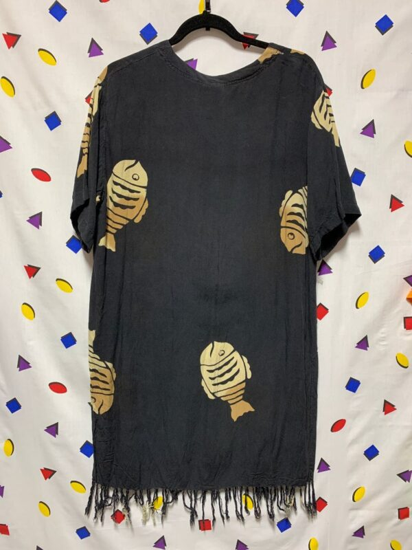 product details: CUTE 1990S TUNIC DRESS WITH FRINGE AND FISH GRAPHIC PRINT photo