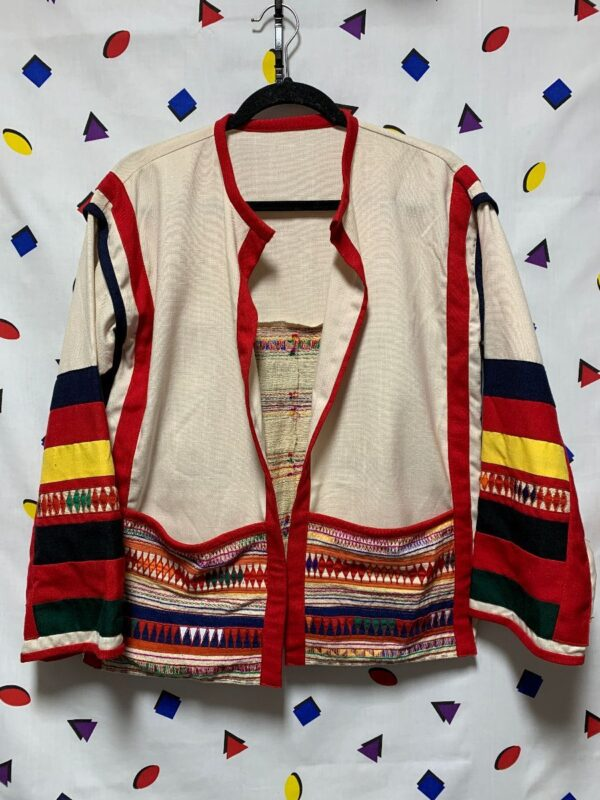 product details: WOVEN ETHNIC TEXTILE OPEN JACKET WITH LARGE FRONT POCKETS photo