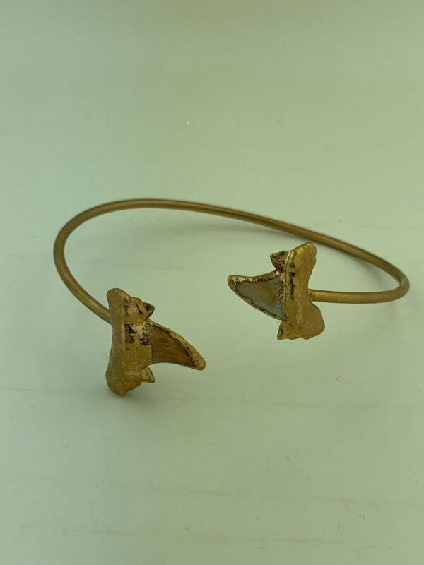 product details: OPEN BANGLE REAL FORAGED SHARKS TOOTH BANGLE BRACELET photo