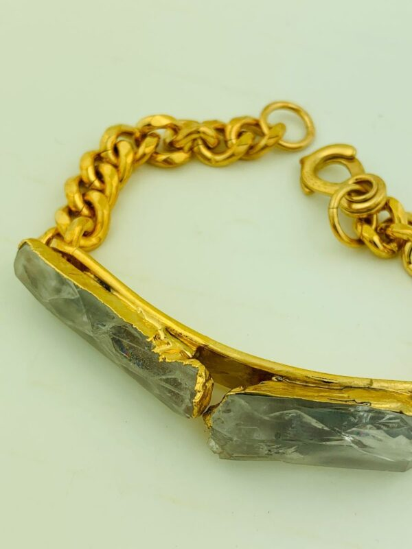 product details: CUSTOM 18K GOLD DIPPED RAW QUARTZ CHAIN LINK ID BRACELET photo