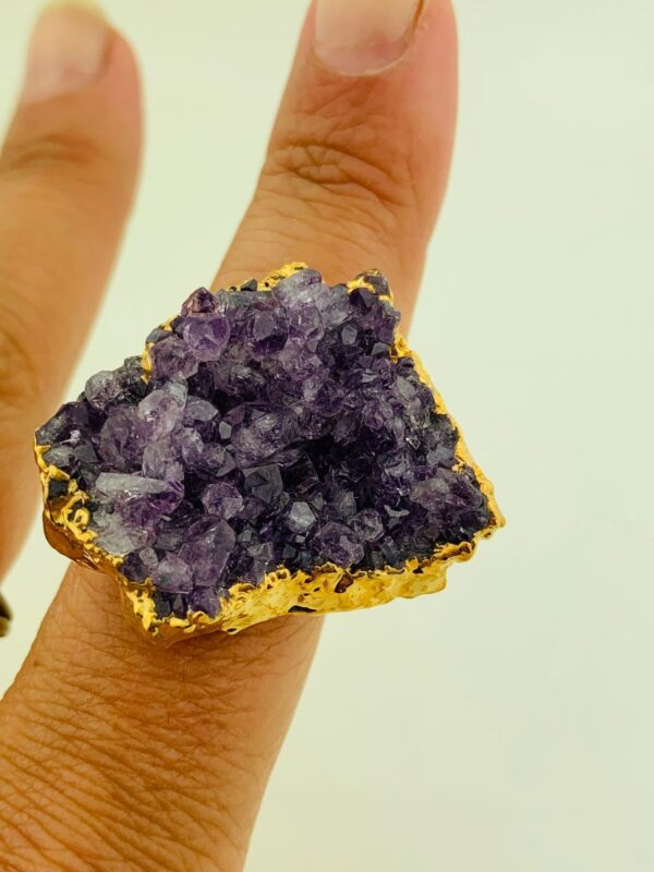 product details: LARGE CHUNKY RAW AMETHYST CRYSTAL ON SOLID BRASS SQUARE RING photo