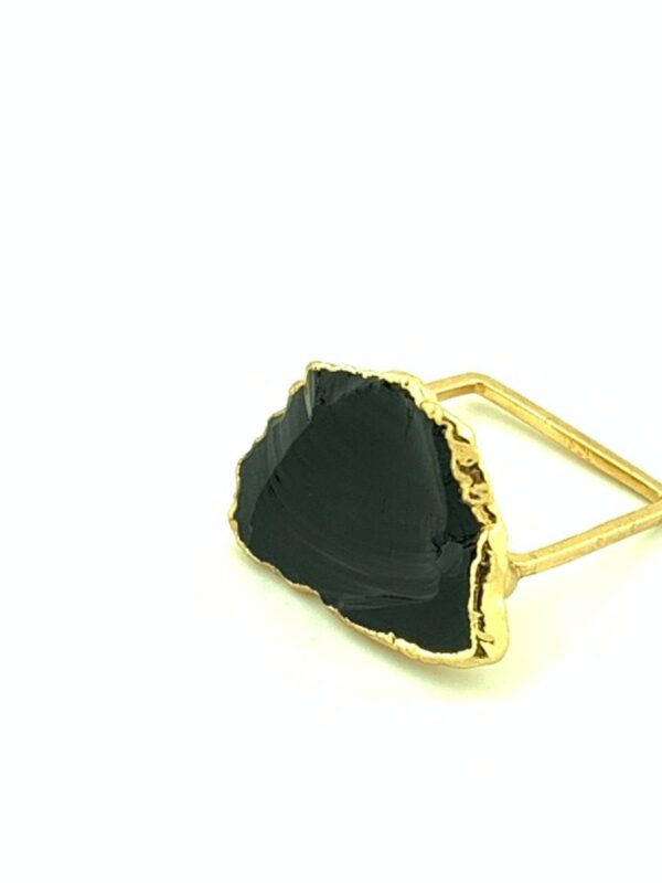 product details: RAW OBSIDIAN STONE ON SOLID BRASS SQUARE RING photo