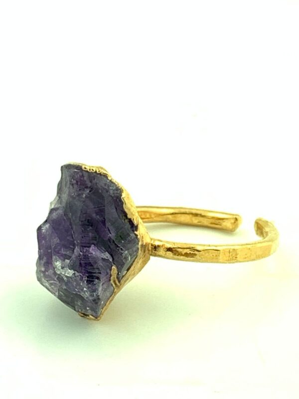 product details: RAW AMETHYST CRYSTAL RING ON HAMMERED ADJUSTABLE RING BASE photo
