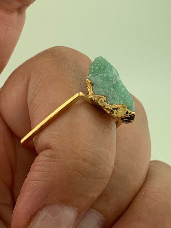 product details: UNIQUE SMALL RAW AMAZONITE STONE RING SOLID BRASS RING photo