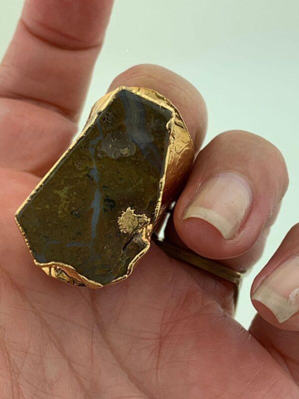 product details: POLISHED JASPER AGATE SLICE RING WIDE STAMPED CIGAR BAND ADJUSTABLE SHANK photo