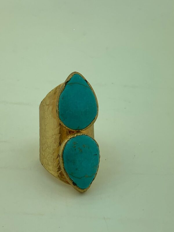 product details: DOUBLE TEAR DROP POLISHED TURQUOISE STONE RING WIDE STAMPED CIGAR BAND ADJUSTABLE SHANK photo