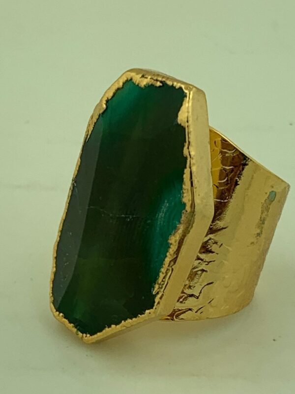product details: EMERALD COLORED AGATE STONE RING WIDE STAMPED CIGAR BAND ADJUSTABLE SHANK photo