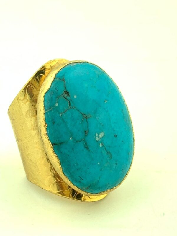 product details: LARGE ROUND POLISHED TURQUOISE STONE RING WIDE STAMPED CIGAR BAND ADJUSTABLE SHANK photo