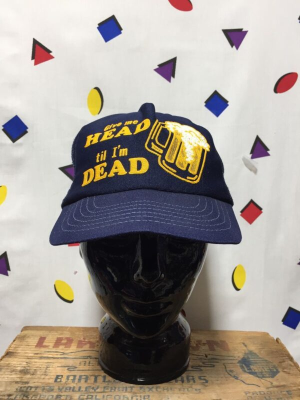 product details: GIVE ME HEAD TILL IM DEAD TRUCKER HAT AS - IS photo