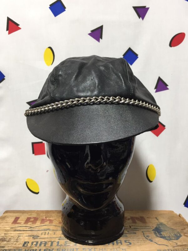 product details: LEATHER BIKER CAP WITH CHAIN LINK photo