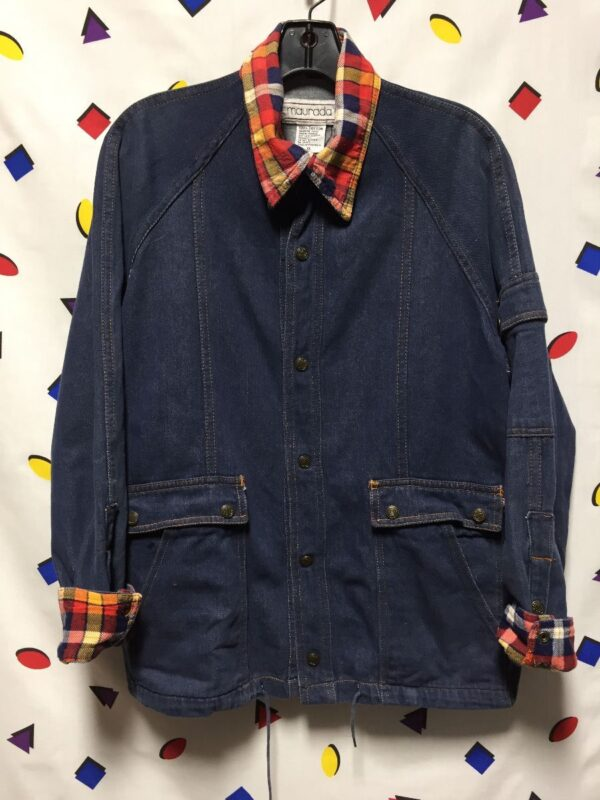 product details: RAD RETRO DENIM BUTTON UP WITH SNAP ON BUTTONS FLANNEL CUFFS AND COLLAR photo