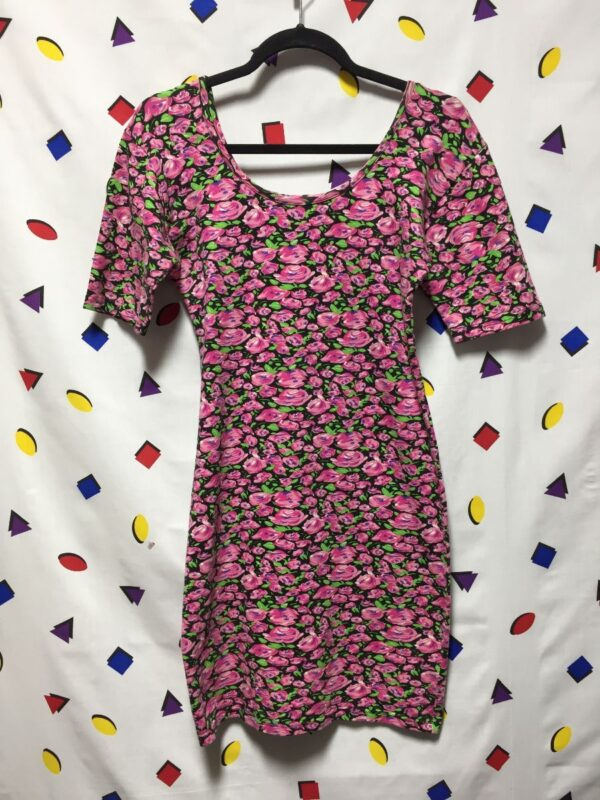 product details: 1990S FITTED FLORAL PRINT BODY CON DRESS photo