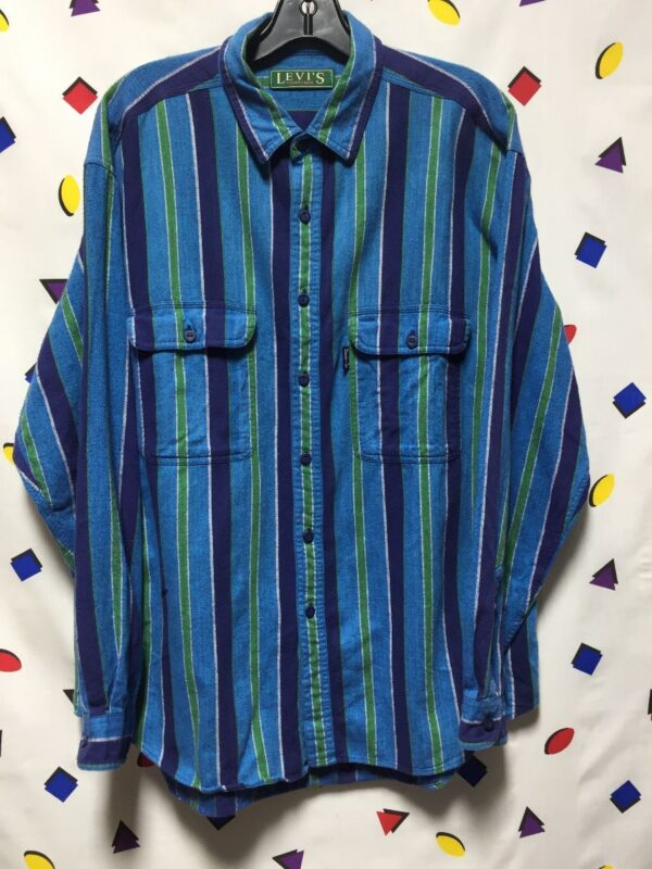 product details: LEVIS VERTICAL STRIPED FLANNEL BUTTON UP SHIRT AS - IS photo