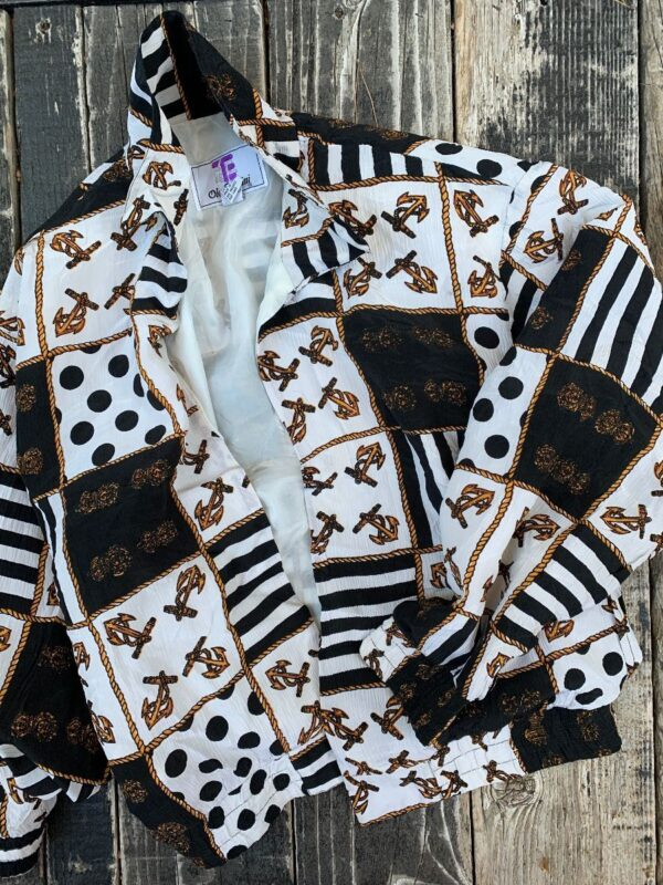 product details: SILK OPEN FRONT BOMBER NAUTICAL PRINT photo
