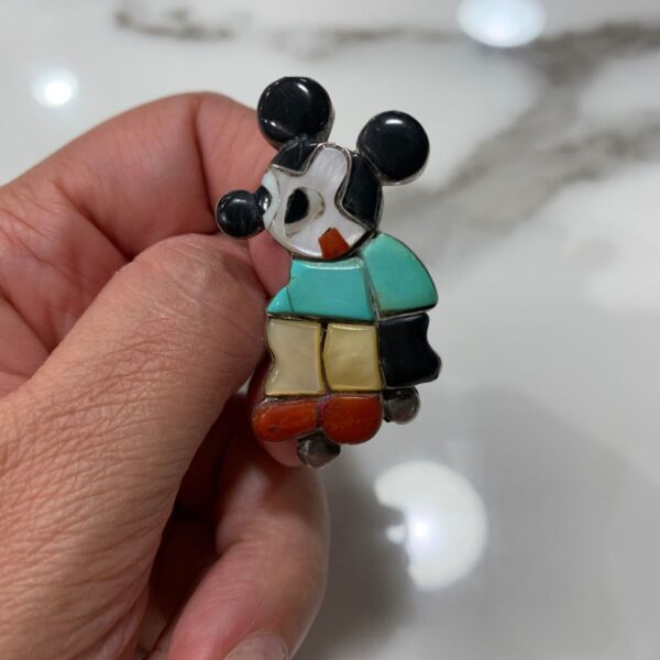 product details: VINTAGE STERLING SILVER ZUNI TURQUOISE INLAY MICKEY MOUSE RING #ZUNITOONS photo