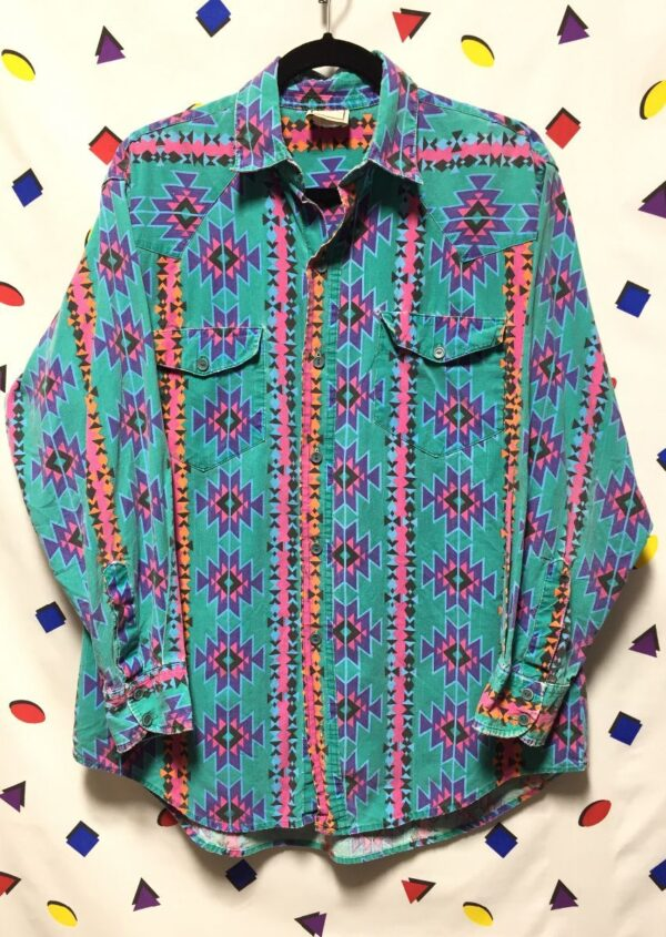 product details: WESTERN STYLE LONG SLEEVE BUTTON UP WITH AZTEC PRINT AS - IS photo