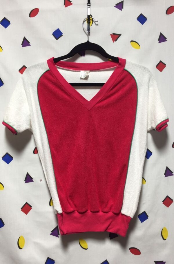 product details: 1970S V NECK COLOR BLOCK TERRY CLOTH TOP photo