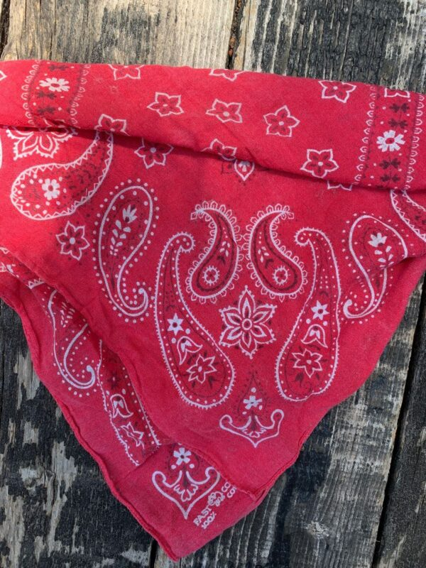 product details: SUPER SOFT PAPER THIN FADED RED VINTAGE BANDANA AS-IS photo