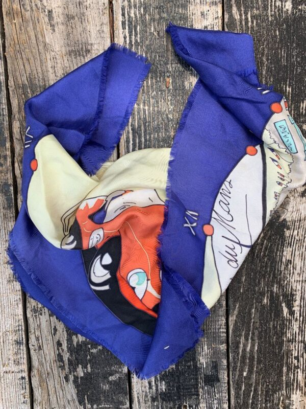 product details: HAND PAINTED SILK SCARF LES 24 HEURES DU MANS RAW FRAYED EDGES photo
