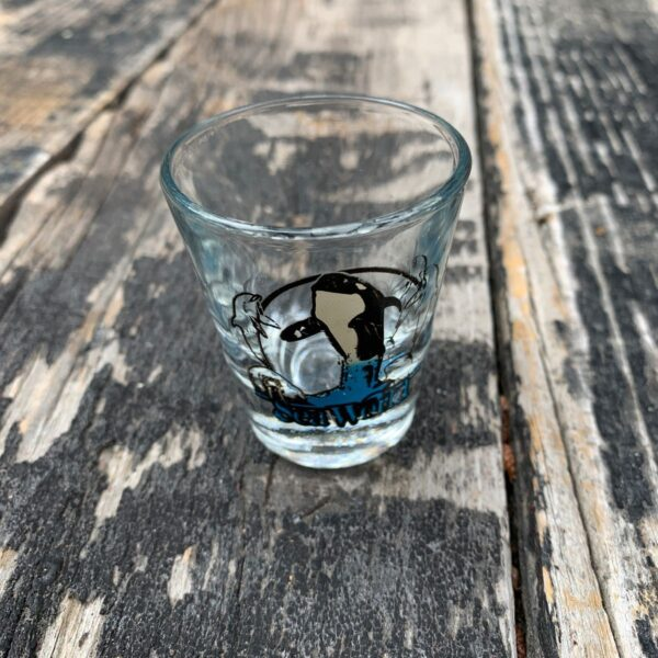 product details: VINTAGE SEAWORLD SHAMU SHOT GLASS photo