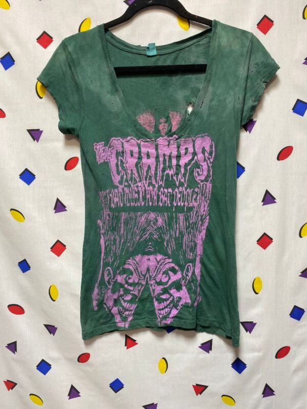 product details: THE CRAMPS FITTED V-NECK TSHIRT BAD MUSIC FOR BAD PEOPLE DISTRESSED POISON IVY GRAPHIC photo