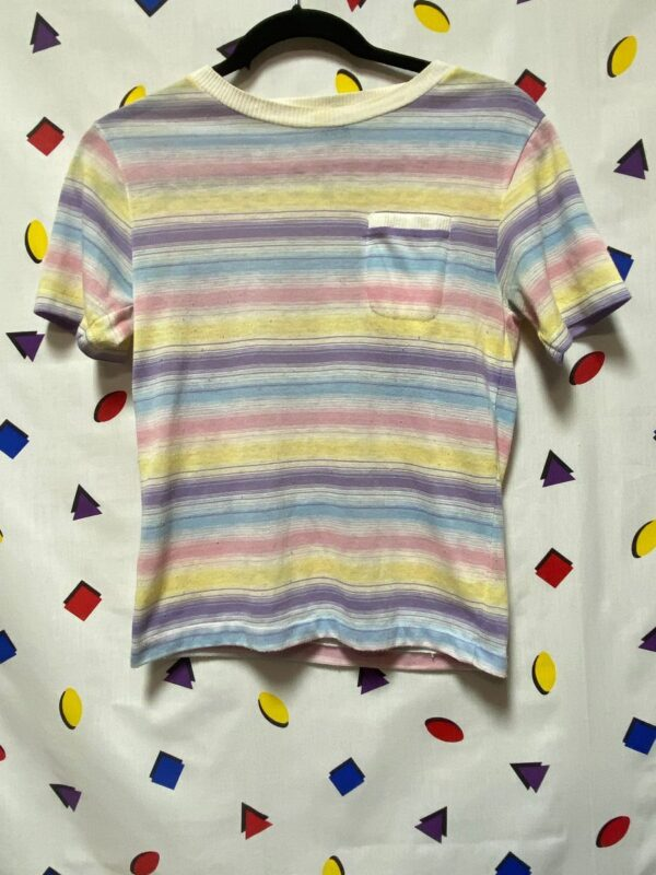 product details: LITTLE RETRO PASTEL STRIPED POCKET TEE photo