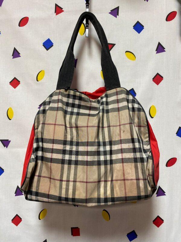 product details: SMALL PLAID NYLON MINI BURBERRY DUFFLE BAG AS-IS photo