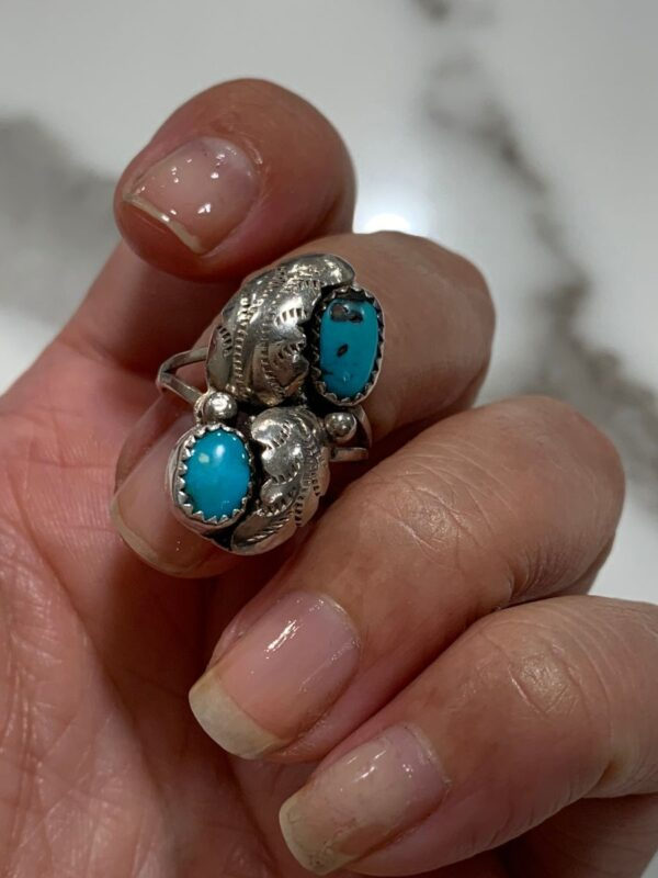 product details: TURQUOISE DOUBLE STONE RING FEATHER DESIGN, STERLING SILVER photo