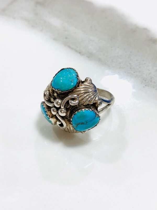 product details: FUNKY TRIPLE TURQUOISE POLISHED NUGGET RING ORNATE DETAILS photo