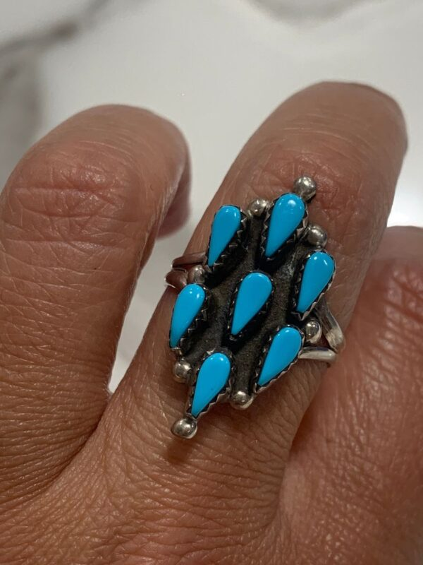 product details: 7 TEAR DROP TURQUOISE STONE RING STERLING SILVER *SIGNED HS photo