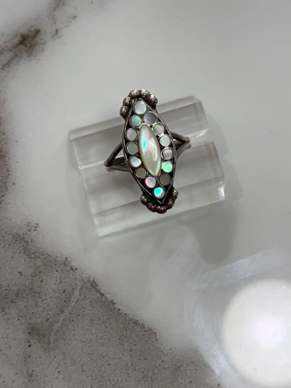 product details: SWEET LITTLE MOONSTONE INLAY RING STERLING SILVER photo