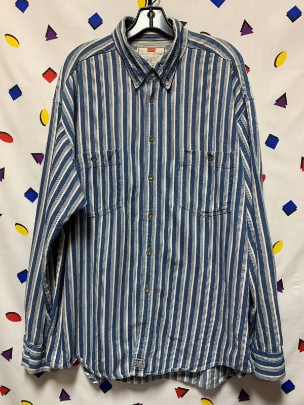 product details: RAD 1990S LEVIS VERTICAL STRIPED CHAMBRAY DENIM SHIRT photo