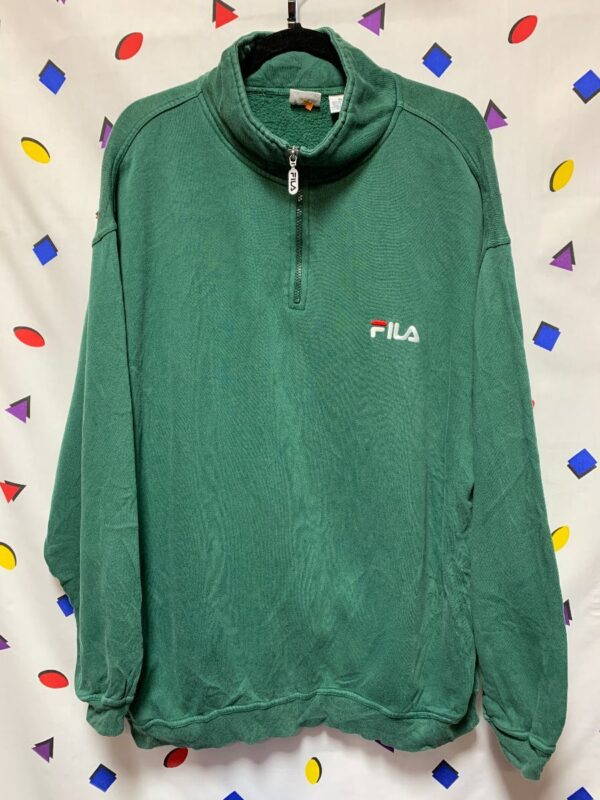product details: CLASSIC EMBROIDERED FILA QUARTER ZIP PULLOVER SWEATSHIRT photo