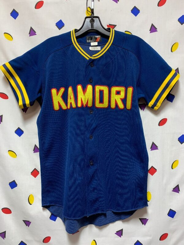 product details: VINTAGE ZETT JAPANESE BASEBALL JERSEY - KAMORI - STRIPED TRIM NECK photo