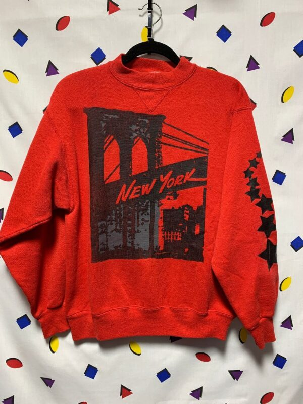 product details: NEW YORK SWEATSHIRT CREWNECK STAR SCREEN PRINT ON BACK  MADE IN USA AS-IS photo