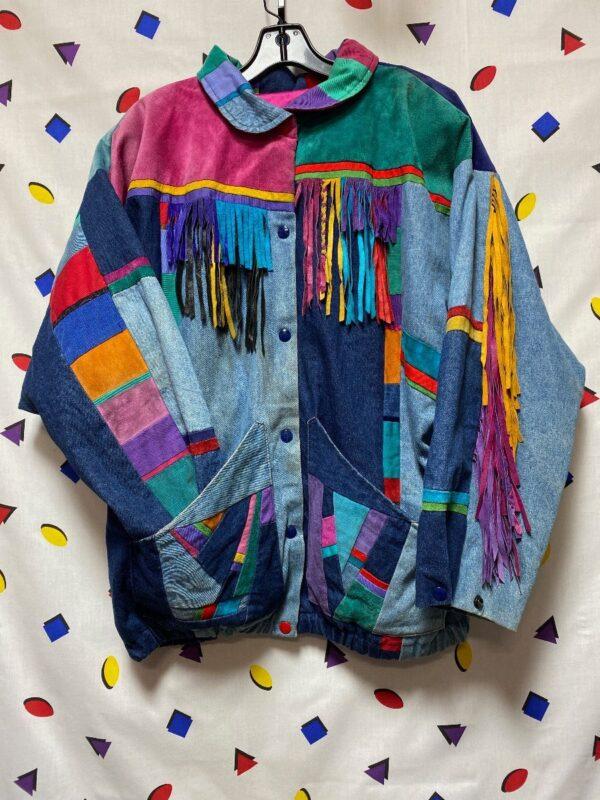 product details: 1980S SUEDE COLOR BLOCK FRINGE JACKET DENIM CORDUROY PATCHWORK SNAP BUTTON CLOSURE photo