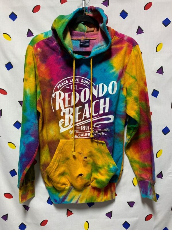 product details: DISTRESSED TIE DYE HOODIE SWEATSHIRT REDONDO BEACH AS-IS photo