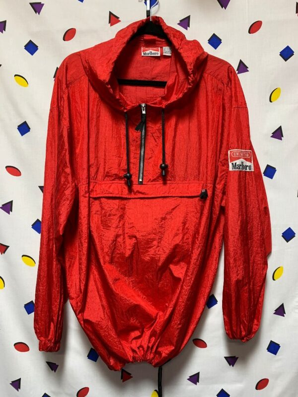 product details: 1980S MARLBORO CONVERTIBLE WINDBREAKER HOODED JACKET HALF-ZIP NECK FRONT POCKET photo
